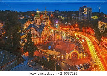 RUSSIA, SOCHI, January 6, 2016: Temple of Prince Vladimir on Christmas Eve, Sochi, Russia, January 6, 2016.