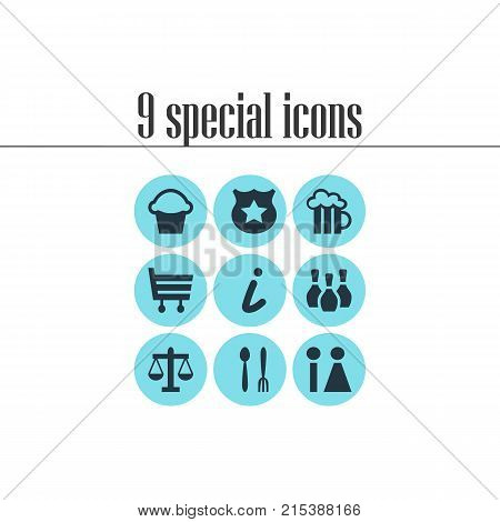 Vector Illustration Of 9 Check-In Icons. Editable Set Of Map Information, Cop, Scales And Other Elements.