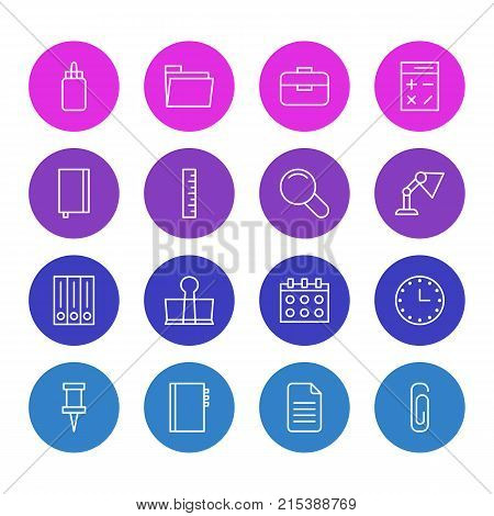 Vector Illustration Of 16 Tools Outline Icons. Editable Set Of Adhesive, Dossier, Folder And Other Elements.