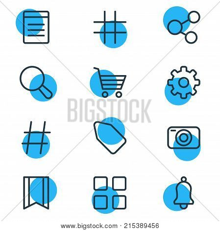 Vector Illustration Of 12 Annex Outline Icons. Editable Set Of Shopping, Label, Magnifier And Other Elements.