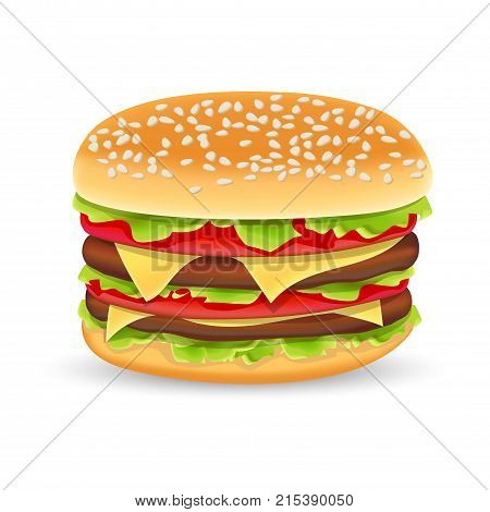 Hamburger icon. Classic Burger American Cheeseburger with Lettuce Tomato Onion Cheese Beef isolated on white Background. Fast Food. Beef meat and fresh organic vegetables.