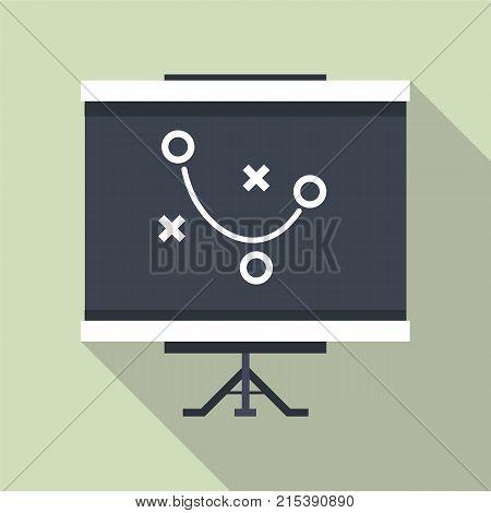 Clipboard Game Plan. Flat Design Long Shadow Icon.