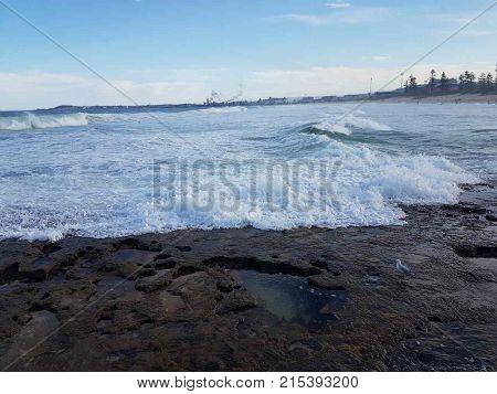 Beautiful beach side in Wollongong beach during summer