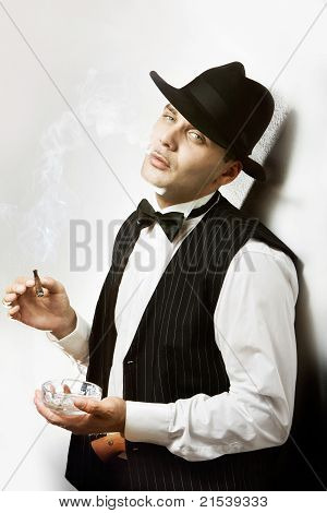 Gangster retrostyle with the cigar