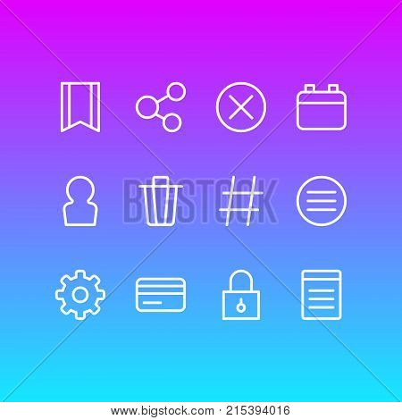 Vector Illustration Of 12 Annex Outline Icons. Editable Set Of User, Closed, Locked And Other Elements.