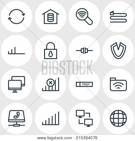 Vector Illustration Of 16 Web Outline Icons. Editable Set Of Padlock, Web, Low Connection And Other Elements.