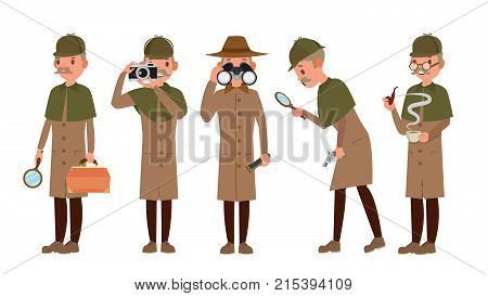 Classic Detective Vector. Retro Professional Funny Snoop, Shamus. Loking Through Magnifying Glass. Sleuthing, Disguising. Flat Cartoon Illustration