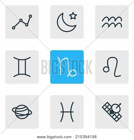 Vector Illustration Of 9 Galaxy Outline Icons. Editable Set Of Twins, Saturn, Night And Other Elements.