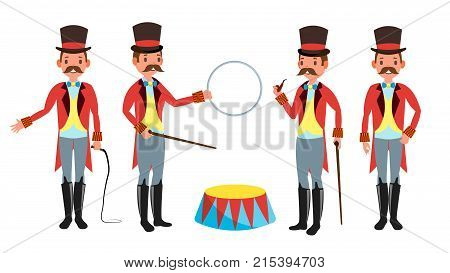 Circus Trainer Vector. Amusement Park. Mustache, Red Cloak, Cylinder, Whip. Isolated Flat Cartoon Character Illustration