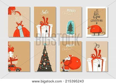 Hand Drawn Vector Abstract Fun Merry Christmas Time Cartoon Cards Collection Set With Cute Illustrat