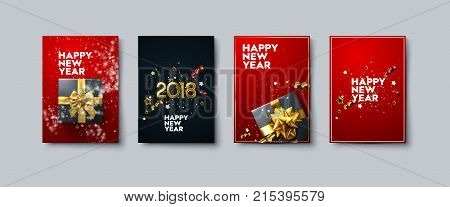Vector illustration of Happy New Year posters or flyers set. Holiday banners with gift box, golden bow and ribbons, tinsel and confetti. Winter festive decoration. New Year party invitation