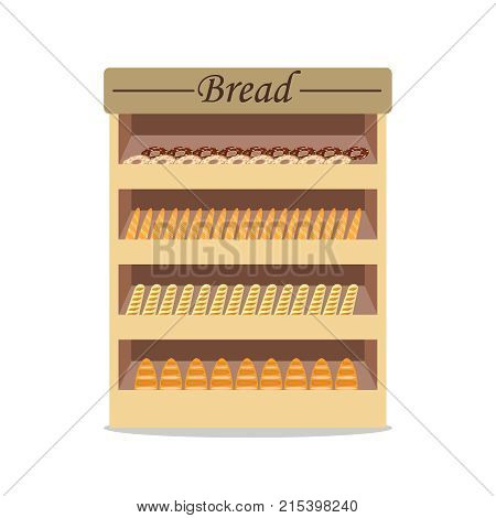 Shelves with bread with bread shop window with bread. Selling bread. Flat design vector illustration vector.