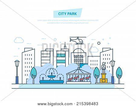 City park. Children's entertainment playground, city street, recreation walking park, landscape of summer park, buildings. Urban landscape. Illustration thin line design of vector doodles.