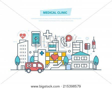 Medical clinic, hospital building, healthcare, medical facility, ambulance. City building. Clinic exterior, medical architecture hospital, landscape. Illustration thin line design of vector doodles.