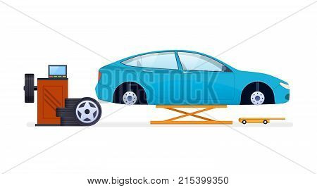 Car repair and service. Mechanic repairs and diagnostics car and equipment in building of auto service. Work in auto repair service. Replacement of tires, wheels and car parts. Vector illustration.