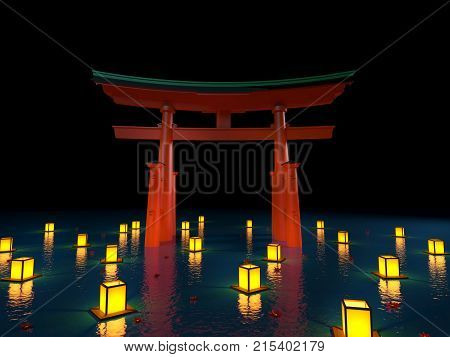 Japanese Gate In Water With Lanterns At Night