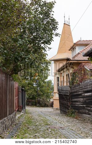 Sighisoara Romania October 08 2017 : Street of Carpenters in the old city of Sighisoara in Romania