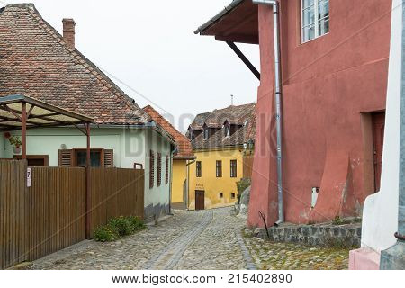 Sighisoara Romania October 08 2017 : Street of Furriers in the old city of Sighisoara in Romania