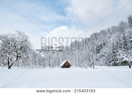 Historic Villages of Shirakawa-go and Gokayama Japan. Winter in Shirakawa-go Japan. Traditional style huts in Gassho-zukuri Village Shirakawago and Gokayama World Heritage Site.