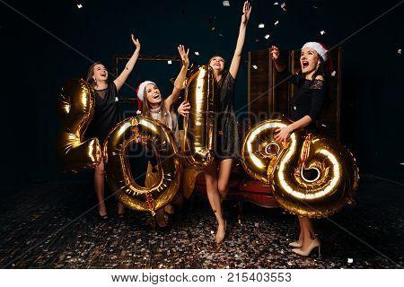 Girls Dancing At Celebrating New Year