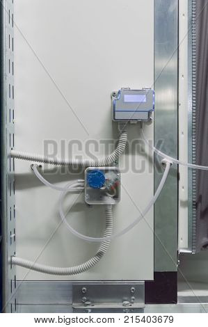 Photo of the display of industrial differential pressure sensor placed on the air handling unit