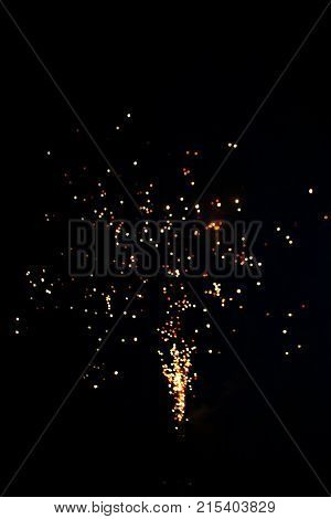 Pyrotechnics / fireworks in a dark night sky .