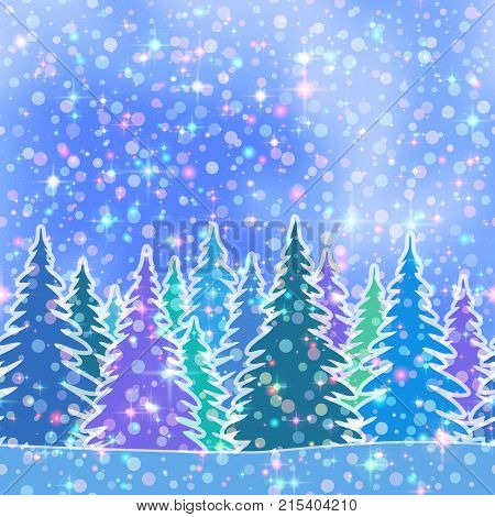 Christmas Horizontal Seamless Background, Magic Landscape with Colorful Fir Trees, Bright Stars and Confetti on Blue Sky, Winter Holiday Illustration. Eps10, Contains Transparencies. Vector
