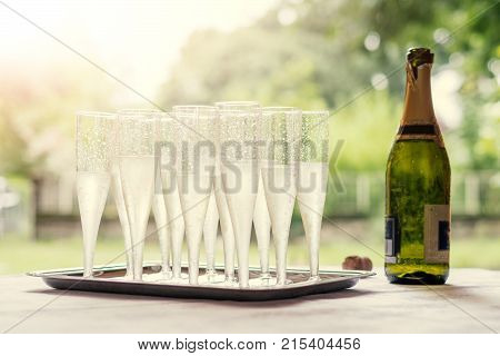 Still Life Of Champagne Flutes On A Table