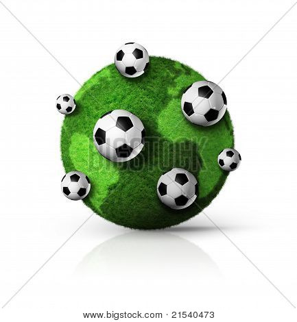 Green Grass World Globe With Soccer Balls
