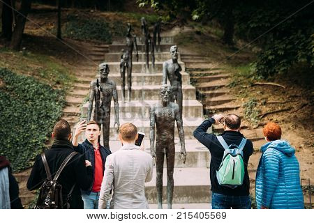 Prague, Czech Republic - September 22, 2017: People Taking Photo Near Memorial To Victims Of Communism Commemorating The Victims Of Communist Era Between 1948 And 1989.