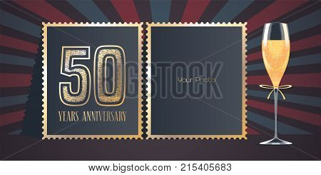 50 years anniversary vector icon logo. Template design greeting card with collage of photo frames number for 50th anniversary and champagne for background or banner