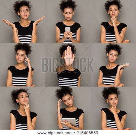 Different emotions collage. Set of beautiful mulatto girl emotional portraits. Negative female feelings. Young woman grimacing on camera