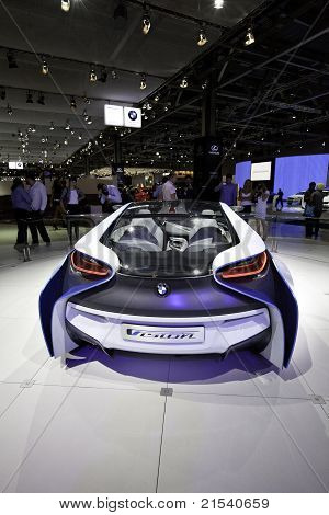 Moscow, Russia - August 25: White Car Bmw  Concept Vision At Moscow International Exhibition Interau