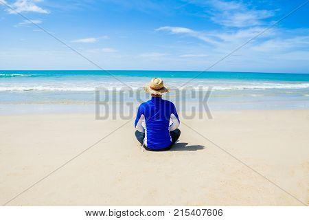 Man Meditating peaceful On Beautiful Beach peaceful