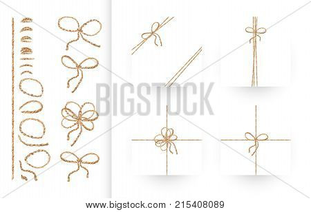 Set of ribbons, bows and ornaments made of natural linen rope and twines. Realistic illustration in vector. Collection of individual elements to create your own composition. EPS10
