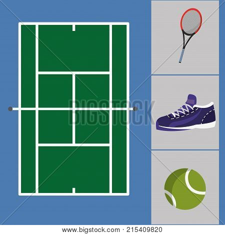 tennis court with sneakers and ball with racket objects to play vector illustration