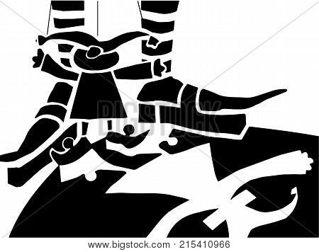 Puppet on stage. white background.  Black and white vector illustration depicting doll on the ropes