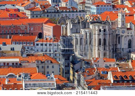 Aerial view of the city from the observation deck. Lisbon. Portugal. poster
