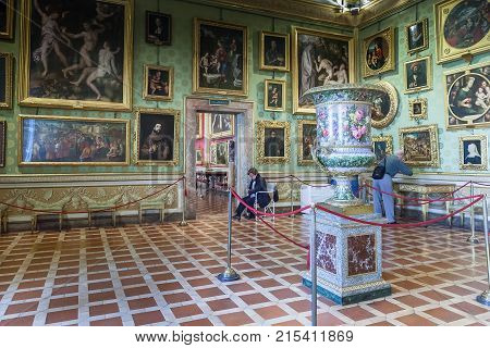 Florence Italy - April 08 2017: Interior of Palazzo Pitti - Renaissance palace