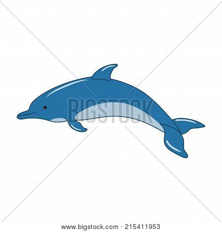 Cute dolphin cartoon on white background. Vector illustration
