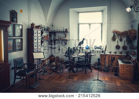 Grodno, Belarus - April 5, 2017: Apothecary Table, Cabinet, Shelfs Of Drugs And Vintage Equipment In