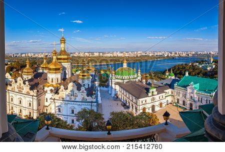 Panoramic View Of Kiev Pechersk Lavra, Orthodox Monastery And Dnepr River. Kiev, Ukraine.