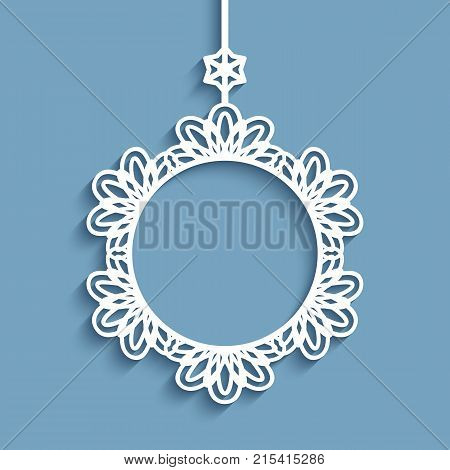 Ornamental Christmas decoration, round vector frame, cutout paper pendant with lace border, may be used for laser cutting or wood manufacturing