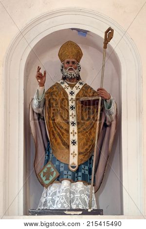 CILIPI, CROATIA - NOVEMBER 08: St. Nicholas the patron of sailors, statue on the altar in the parish church of St. Nicholas in Cilipi, Croatia, November 08, 2016.