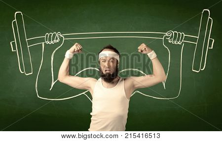 A young man with beard and glasses posing in front of green background, imagining how he would lift weight with big muscles, illustrated by white drawing concept.