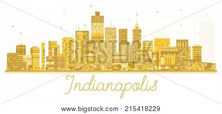 Indianapolis USA City skyline golden silhouette. Business travel concept. Cityscape with landmarks.