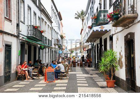PONTA DELGADA, 10 AUGUST 2017 - Ships in Ponta Delgada Resort, Sao Miguel Island, Azores, Portugal, Europe