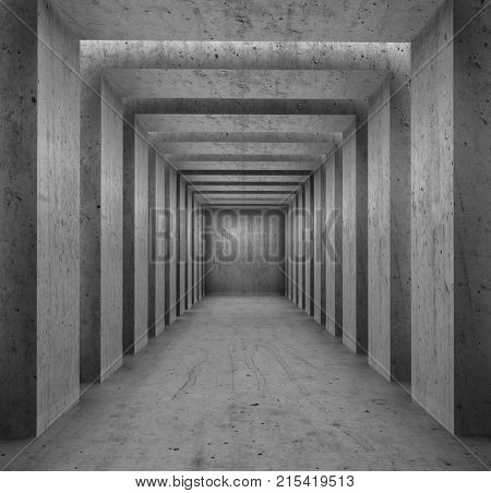 Concrete columns passage background. Architecture Backdrop. 3D illustration.