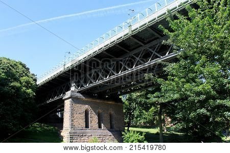 Low angle view of Valley Bridge in Scarborough Town, North Yorkshire, England.
