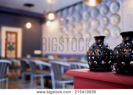Interior of cafeteria, focus on food heaters, shallow dof.
